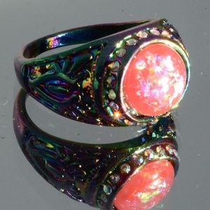 Jewelry - Rainbow Size 9 Ring Purple Psychedelic 18K GF